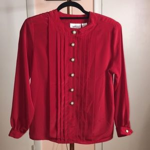 Red Blouse with Pearl Buttons